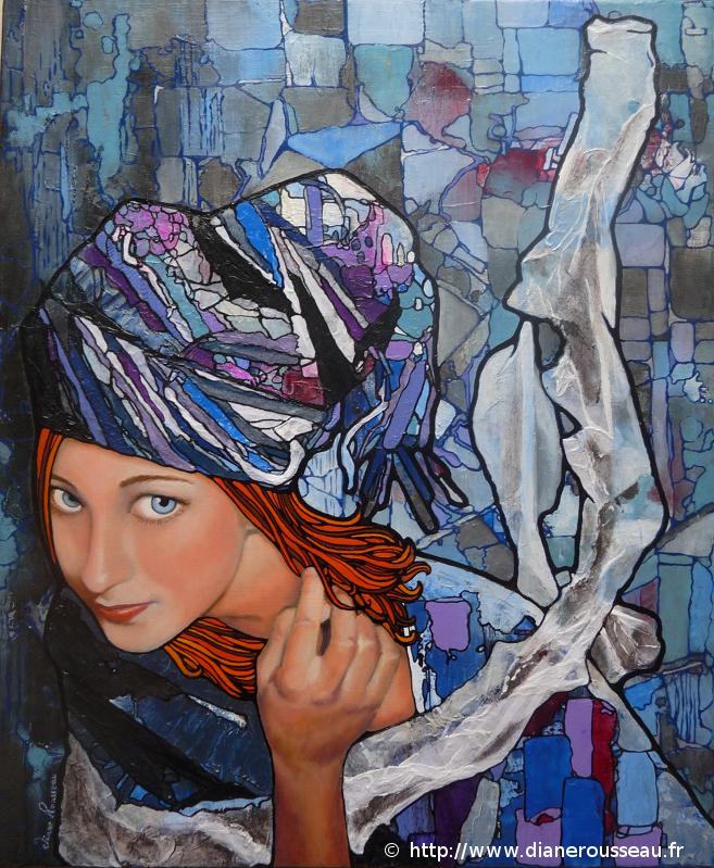 Le turban bleu, Diane Rousseau, portrait, femme, vitrail, technique mixte, collage, huile, acrylique, peinture