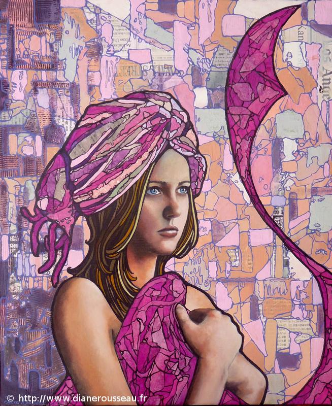 Le turban rose, Diane Rousseau, portrait, femme, vitrail, peinture, technique mixte, collage, acrylique