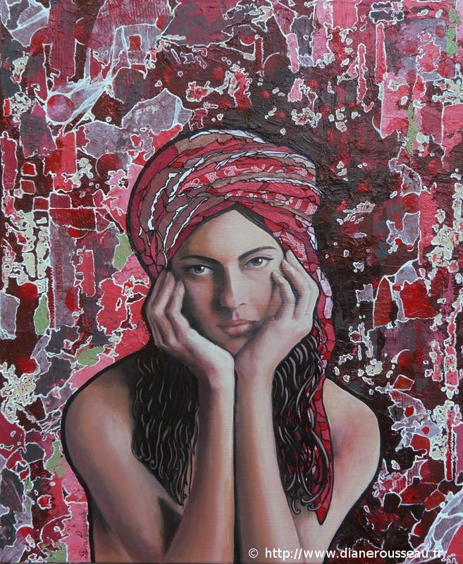Le turban rouge, Diane Rousseau, portrait, femme, vitrail, technique mixte, peinture, acrylique, collage
