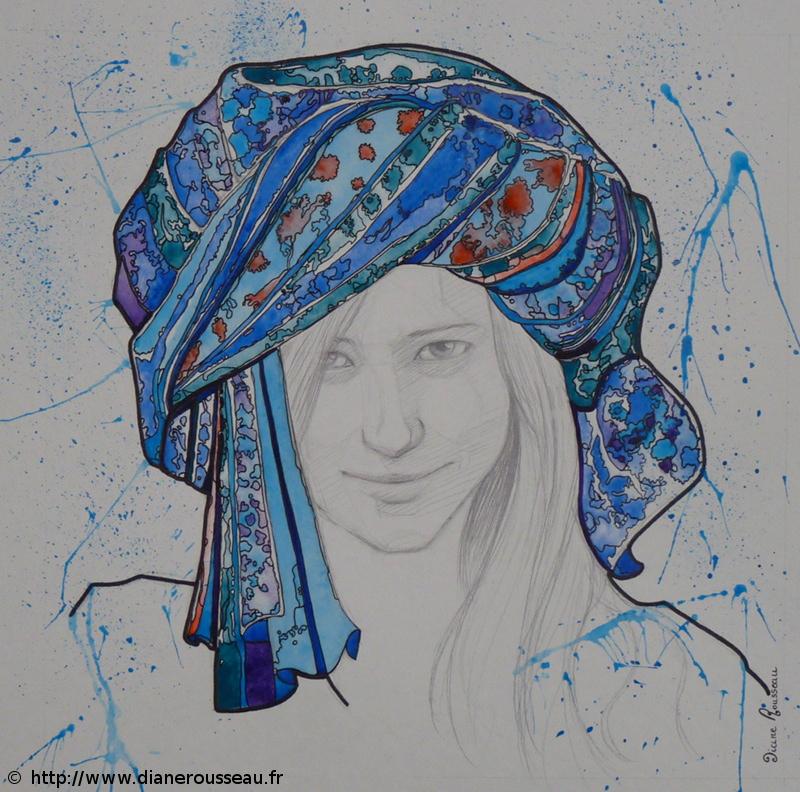 turban d'eau bleu, Diane Rousseau, portrait, femme, graphite, aquarelle, encre, technique mixte, dessin