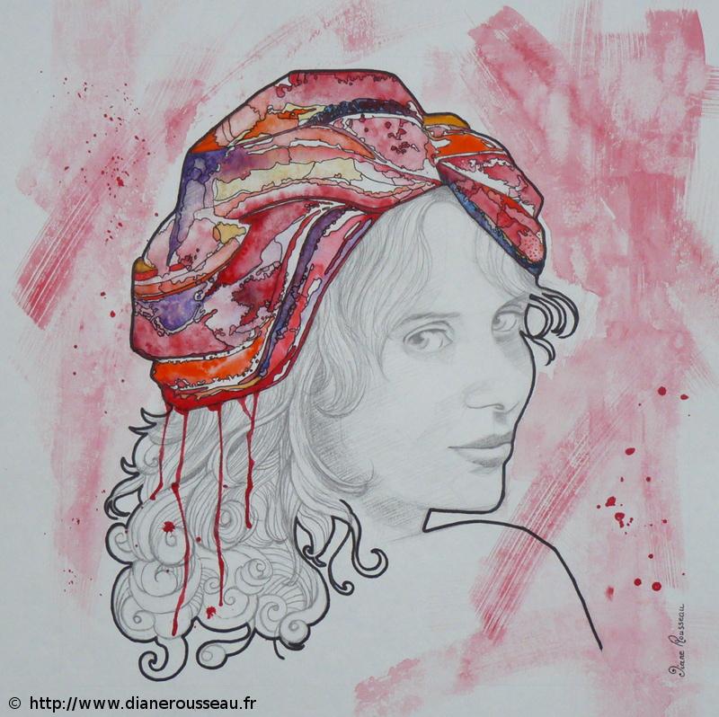 turban d'eau rouge, Diane Rousseau, portrait, femme, graphite, aquarelle, encre, technique mixte, dessin