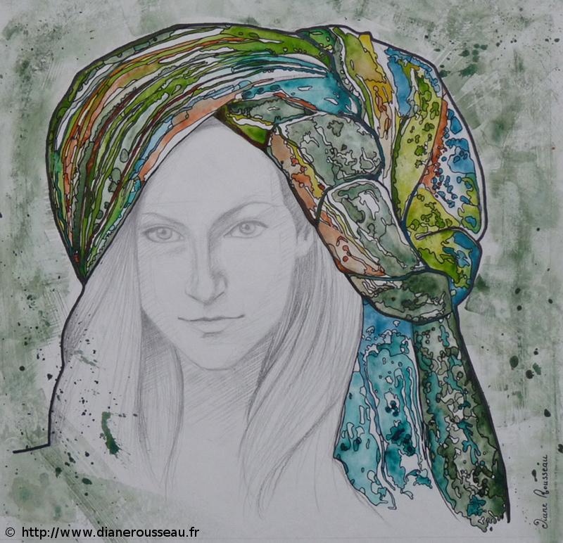turban d'eau vert, Diane Rousseau, portrait, femme, graphite, aquarelle, encre, technique mixte, dessin