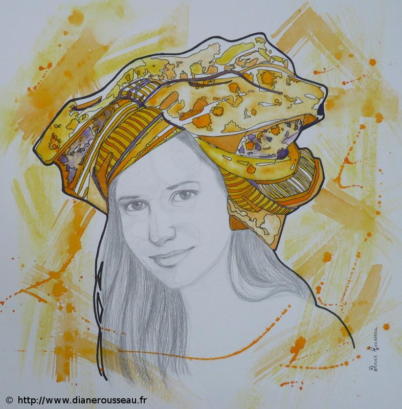 turban d'eau jaune, Diane Rousseau, portrait, femme, graphite, aquarelle, encre, technique mixte, dessin