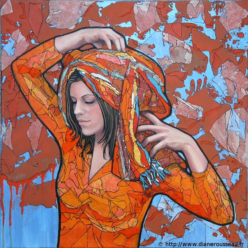 turban orange, Diane Rousseau, portrait, femme, technique mixte, acrylique, peinture