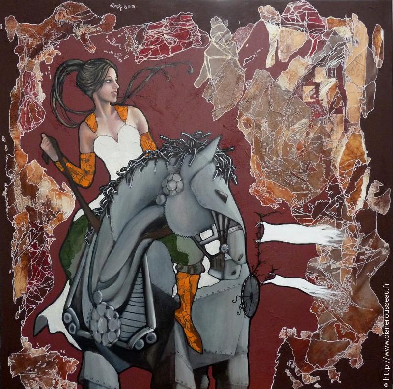 Le cheval de Fer, Diane Rousseau, steampunk, rétro-fantastique, art onirique, dessin, portrait, femme, acrylique, huile, peinture, symbolisme, cosmique, art visionnaire, art contemporain,