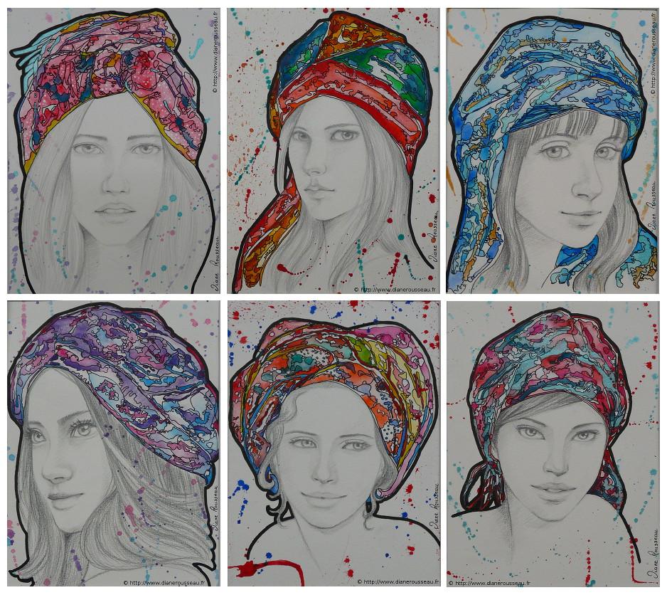 turbans, aquarelle, encre, portrait, femme, Diane Rousseau, prismatic