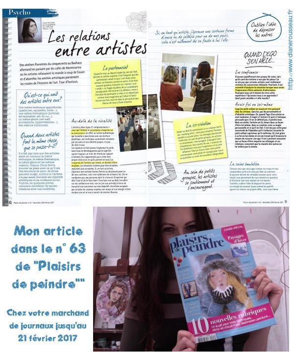 relations entre artistes, presse, Plaisirs de peindre, Diane Rousseau
