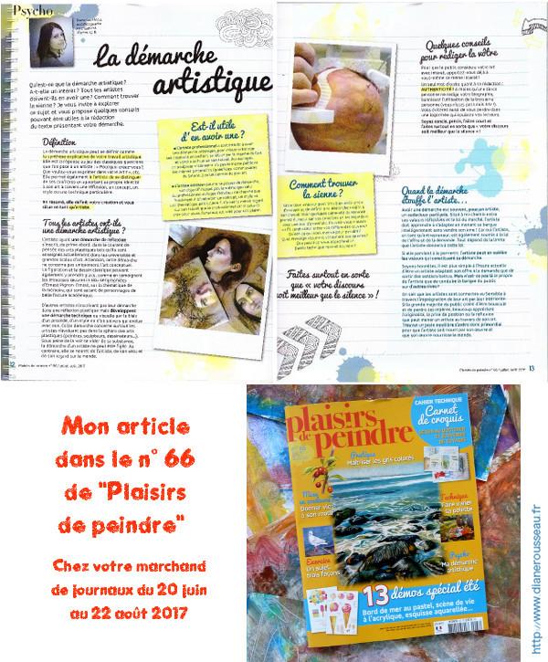 demarche artistique, plaisirs de peindre, presse, magazine, diane rousseau