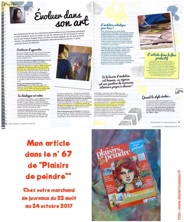 article, presse, plaisirs de peindre, magazine, évoluer dans son art, diane rousseau