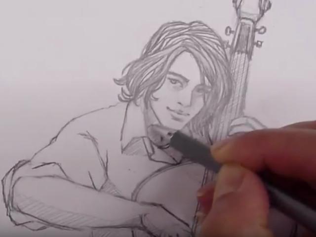 dessin, comment dessiner un personnage, personnage, violoncelliste, musicien, diane rousseau