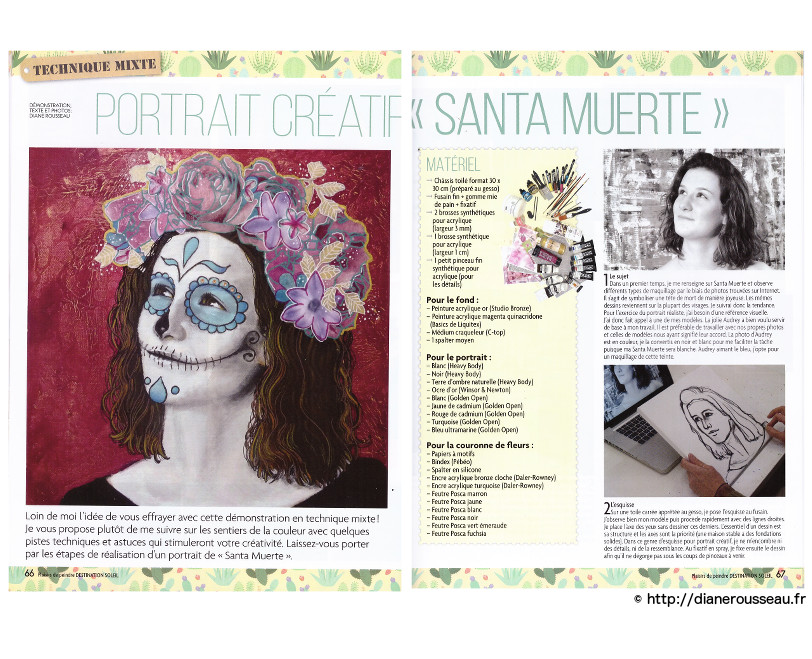 Santa Muerte, technique mixte, portrait créatif, démonstration, presse, acrylique, plaisirs de peindre, diane rousseau